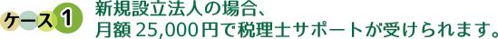 新規設立法人の場合、 月額 25,000円で税理士サポートが受けられます。